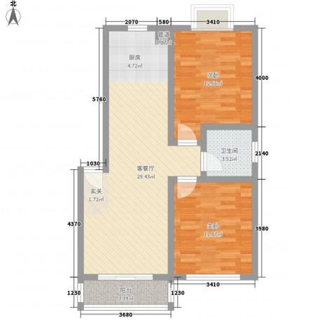 汇源华庭2室1厅1卫0厨88.00㎡户型图