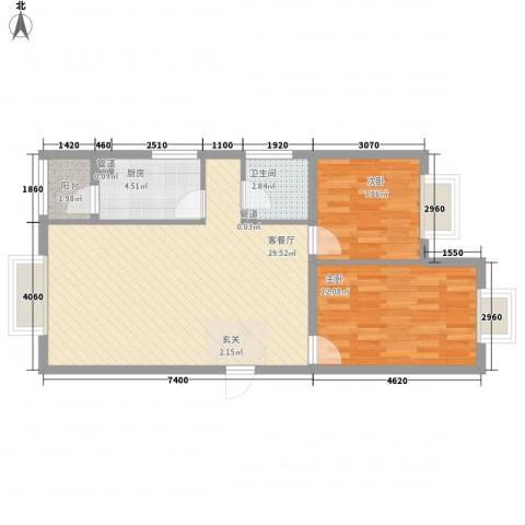 御龙庭2室1厅1卫1厨58.91㎡户型图