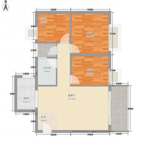 鸿福苑3室1厅1卫1厨98.00㎡户型图