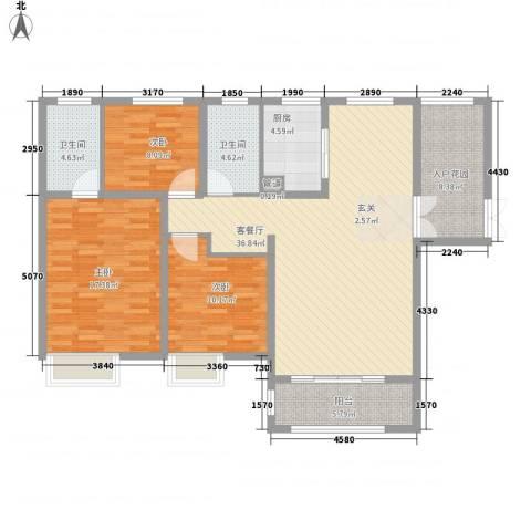 中建・城中壹号公馆3室1厅2卫1厨145.00㎡户型图