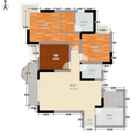 逸静丰豪3室1厅2卫1厨87.37㎡户型图