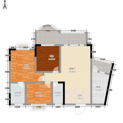 邦兴佳苑3室1厅2卫1厨116.00㎡户型图