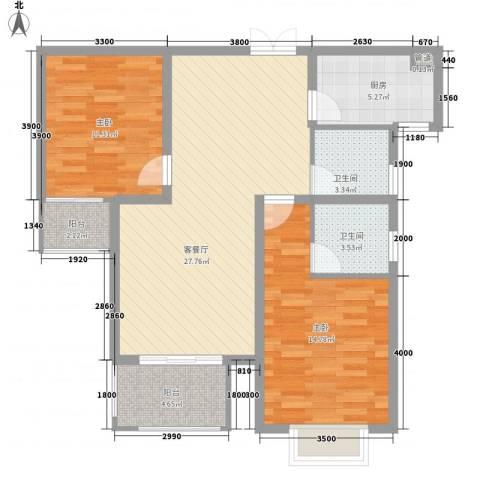 名流印象2室1厅2卫1厨118.00㎡户型图