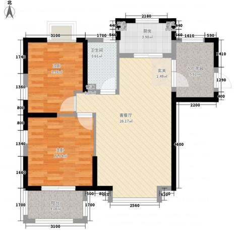 海投天湖城2室1厅1卫1厨74.00㎡户型图