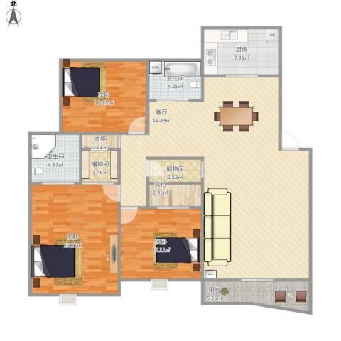 世纪嘉园晴彩巴厘3室1厅2卫1厨170.00㎡户型图