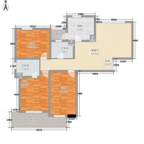 御景华城3室1厅2卫1厨156.00㎡户型图