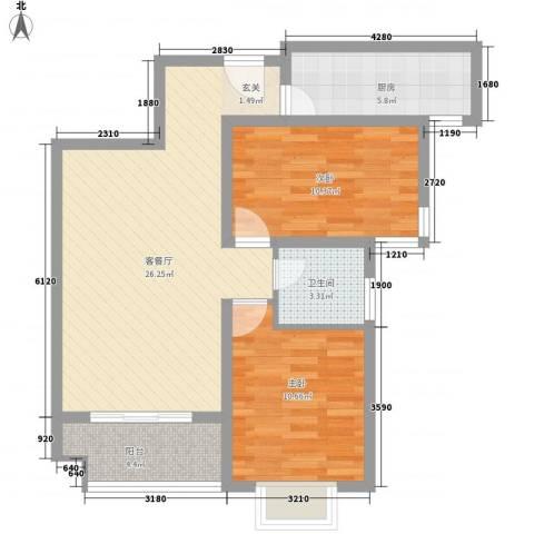首创隽府2室1厅1卫1厨88.00㎡户型图