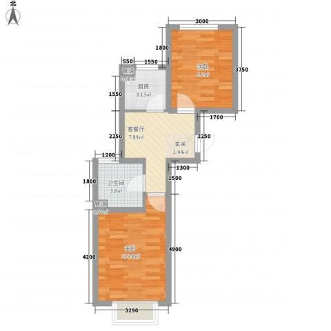 圣罗伦斯2室1厅1卫1厨44.07㎡户型图