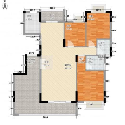雍华庭3室1厅2卫1厨139.00㎡户型图