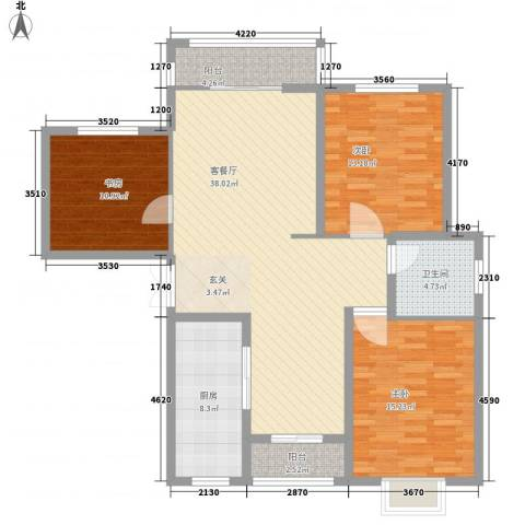 新家园3室1厅1卫1厨138.00㎡户型图