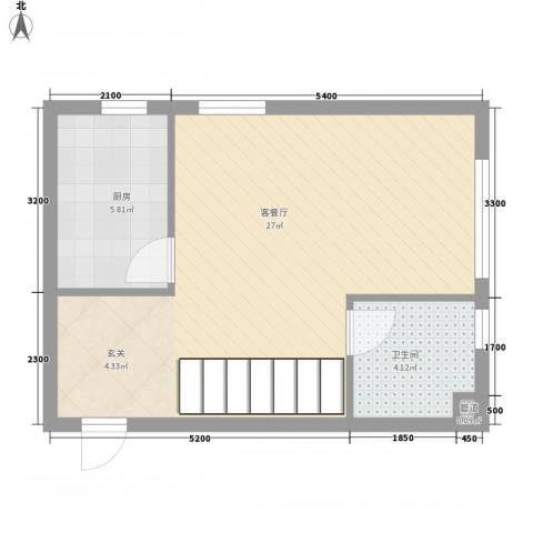 圣罗伦斯1厅1卫1厨41.28㎡户型图