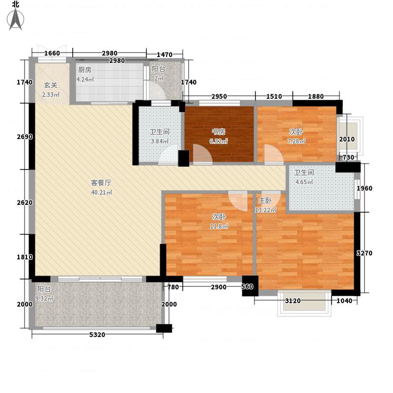 鸿升世纪东方城144.76㎡4+N户型4室2厅2卫1厨