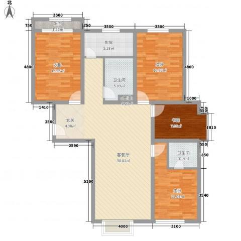 粮食厅宿舍4室1厅2卫1厨144.00㎡户型图