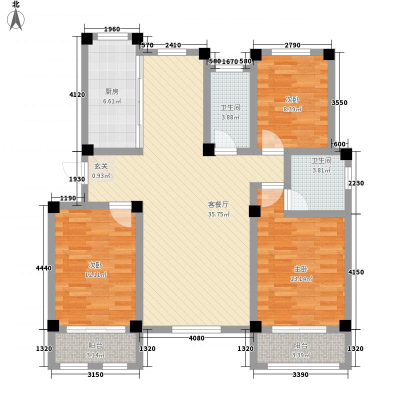 建桥香格里拉132.00㎡E户型3室2厅2卫1厨