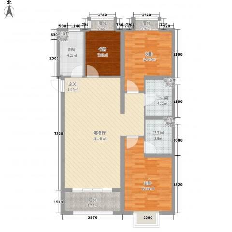 万都城3室1厅2卫1厨116.00㎡户型图