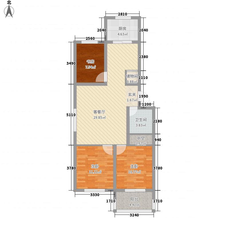 文华美景17.46㎡F#楼户型3室2厅1卫