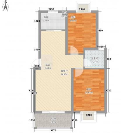 世纪尊园2室1厅1卫1厨84.00㎡户型图