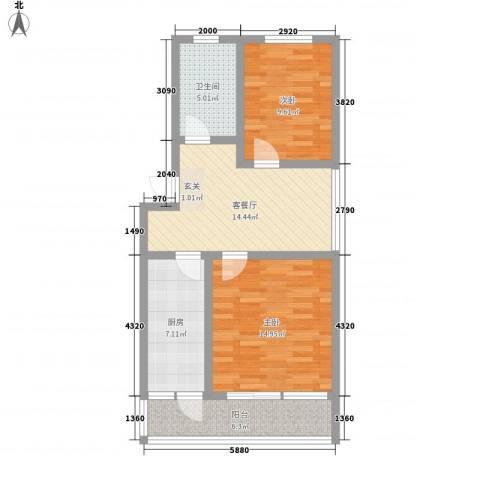 普利永庆街1号2室1厅1卫1厨84.00㎡户型图