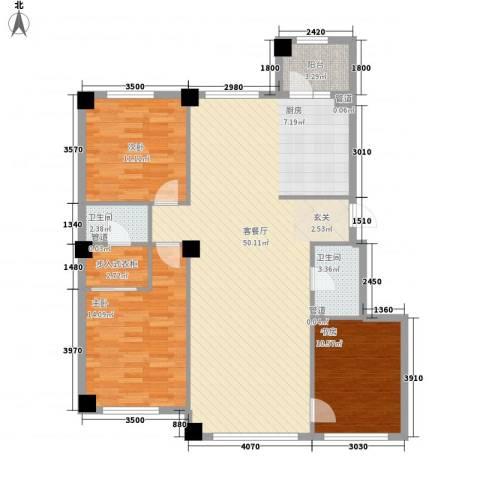 米兰D.C3室1厅2卫0厨136.00㎡户型图