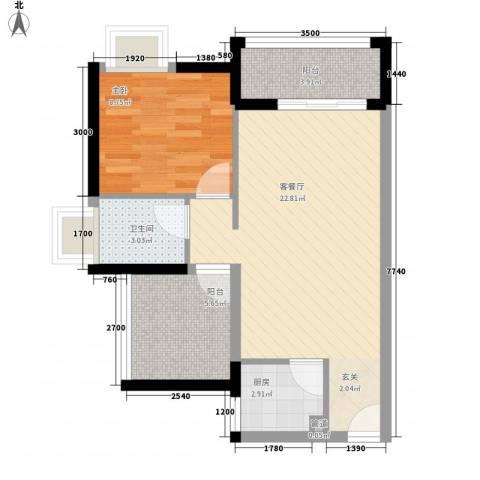 名流印象1室1厅1卫1厨65.00㎡户型图