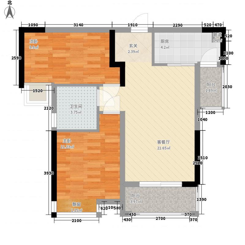 城中金谷7.82㎡A2户型2室2厅1卫