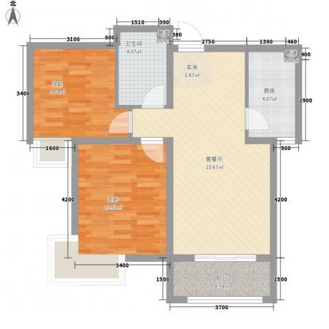 气象局宿舍2室1厅1卫1厨86.00㎡户型图