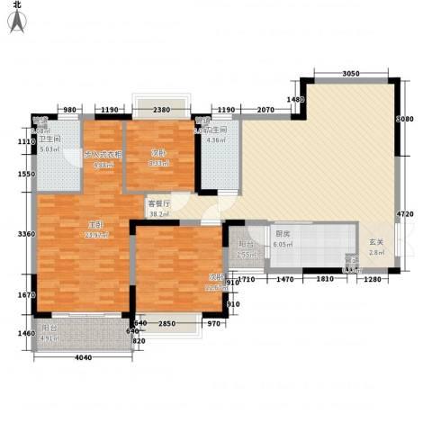 恒大绿洲3室1厅2卫1厨150.00㎡户型图