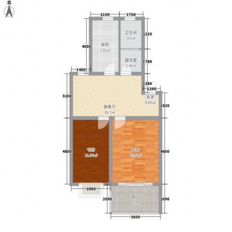 嘉和苑2室2厅1卫1厨79.00㎡户型图