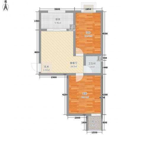 恒泉花园2室1厅1卫1厨156.00㎡户型图