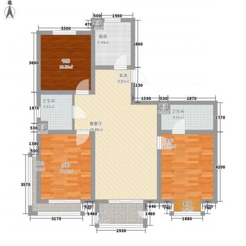 稼悦小区园中园3室1厅2卫1厨124.00㎡户型图