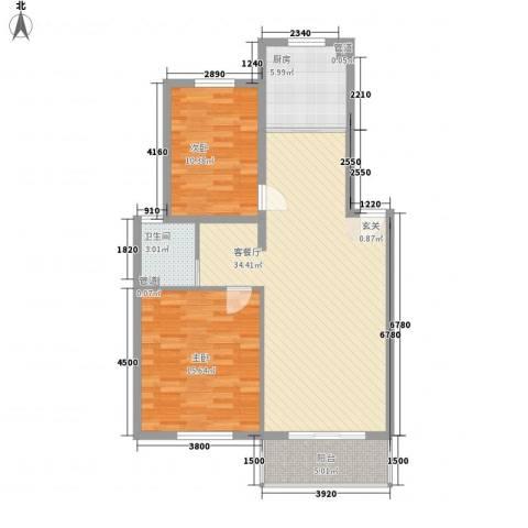 嘉和苑2室1厅1卫1厨91.00㎡户型图