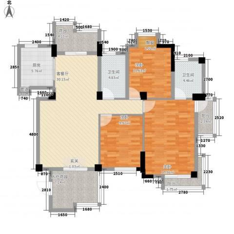 金海湾花园3室1厅2卫1厨114.60㎡户型图