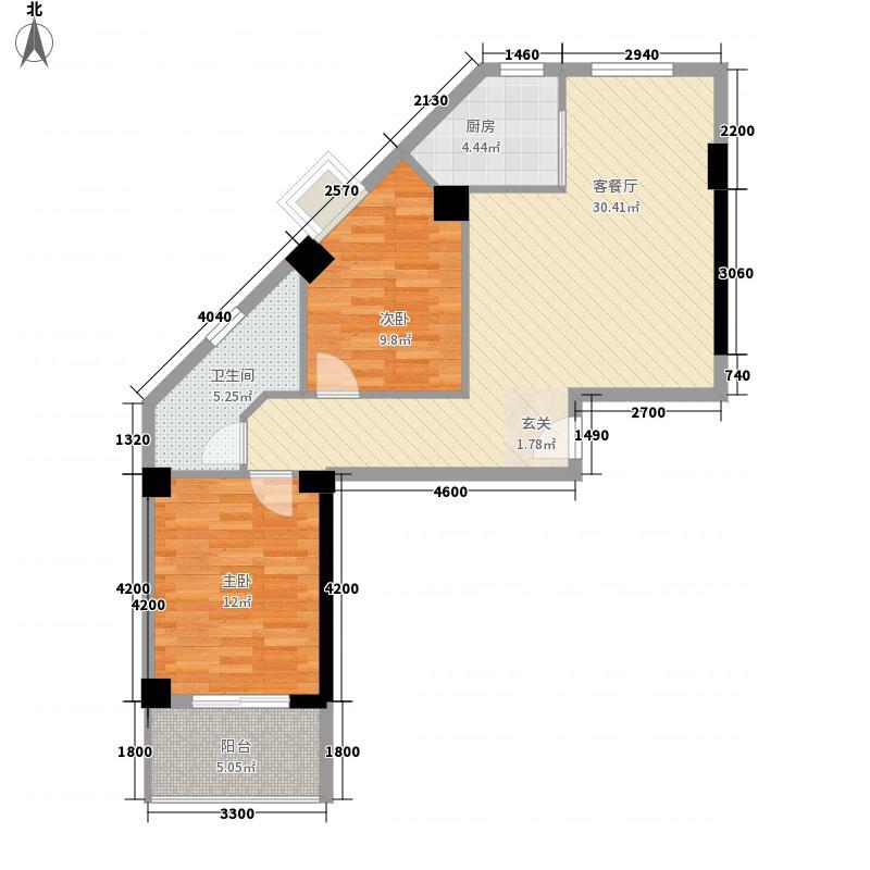 南洋新加坡85.00㎡20#楼D1户型2室2厅1卫1厨