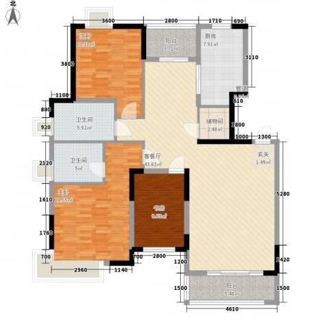 合生熹景半山苑项目3室1厅2卫1厨257.00㎡户型图