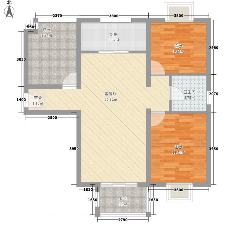 住总佳苑15户型2室2厅1卫1厨