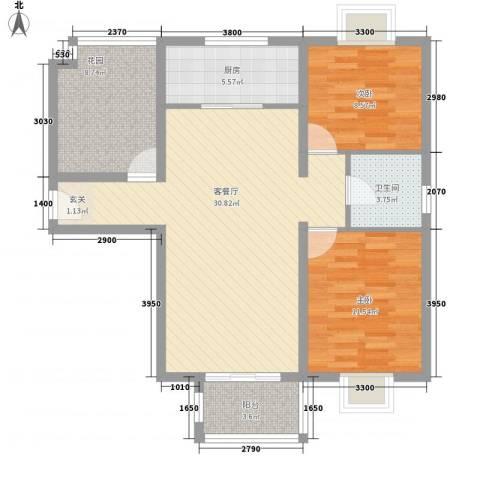 住总佳苑2室1厅1卫1厨104.00㎡户型图