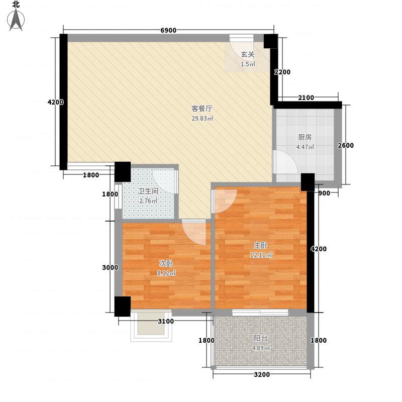 南洋新加坡7.00㎡20/21/23#楼E户型2室2厅1卫