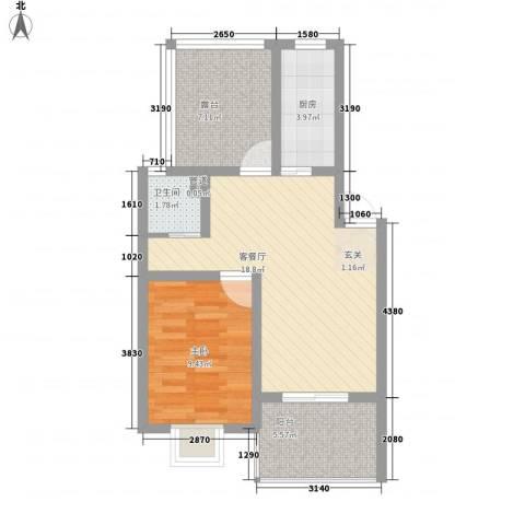 世纪尊园1室1厅1卫1厨69.00㎡户型图
