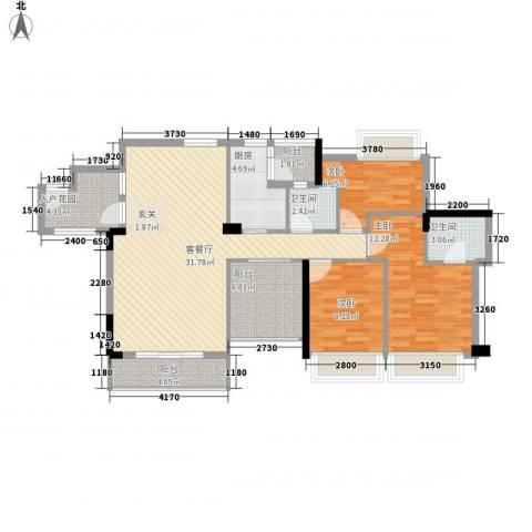 名流印象3室1厅2卫1厨123.00㎡户型图