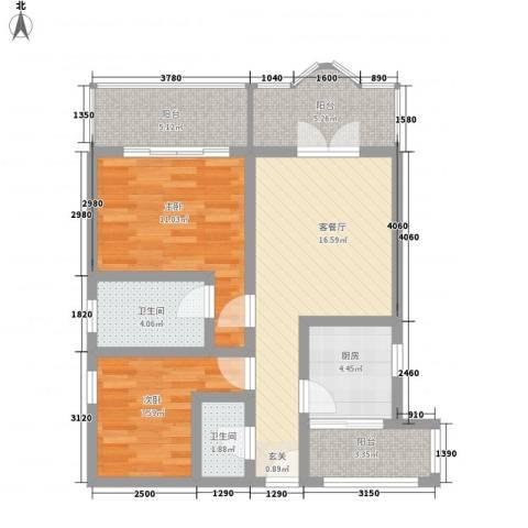 大帝花园2室1厅2卫1厨115.00㎡户型图