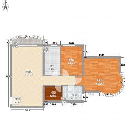 珠江绿洲3室1厅1卫1厨108.00㎡户型图
