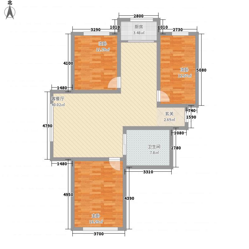 水岸弘庭户型3室2厅1卫1厨