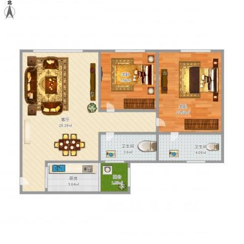 临江佳园2室1厅2卫1厨80.00㎡户型图