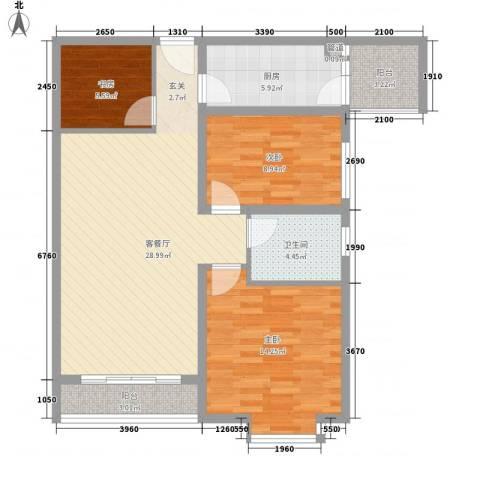 珠江绿洲3室1厅1卫1厨107.00㎡户型图