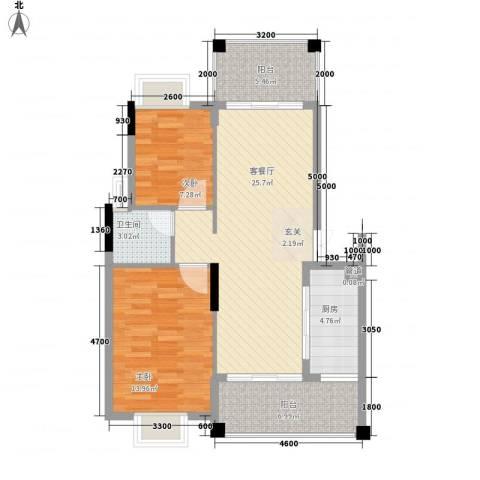 山水芳邻2室1厅1卫1厨67.24㎡户型图