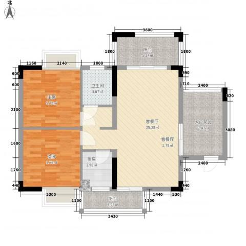 月半弯二期曦悦2室1厅1卫1厨79.00㎡户型图