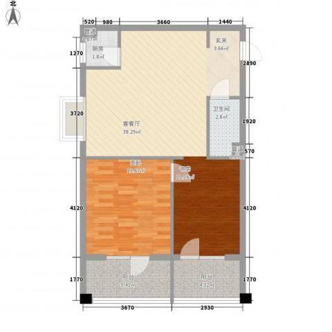 巴克寓所1室1厅1卫1厨66.66㎡户型图