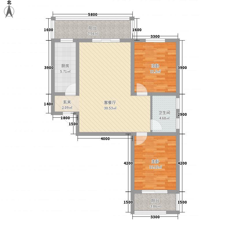 龙湾7.00㎡C户型2室2厅1卫1厨