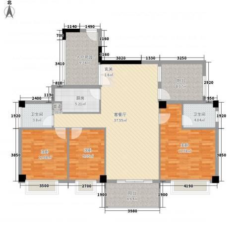 桃源明居3室1厅2卫1厨147.00㎡户型图