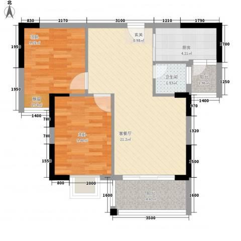 合和人家2室1厅1卫1厨75.00㎡户型图